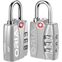 ORIA Luggage Lock, Travel Lock, TSA Approved Luggage Locks, Travel Combination Lock, Padlock with Alert for Suitcases, Baggage, Backpacks, Small Cabinets, Briefcases, Computer Bags (Silver, 2 Pack)