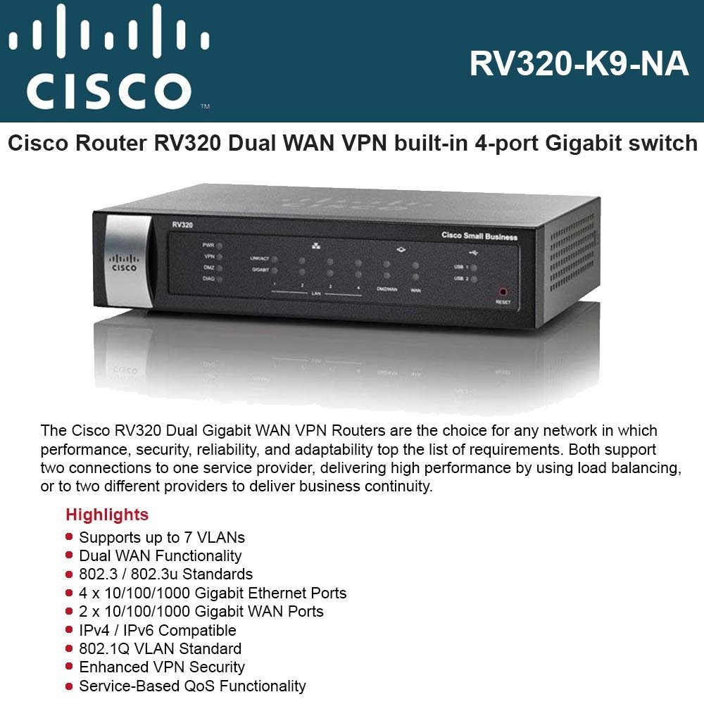 Cisco RV320-K9-NA Small Business RV320 - Router - 4-port switch - GigE