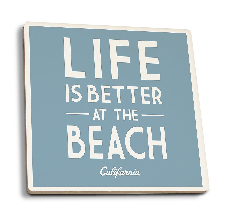 カリフォルニア - ビーチでの生活がより良い - 単にSaid 4 Coaster Set LANT-82331-CT 4 Coaster Set  B079YJV5CM