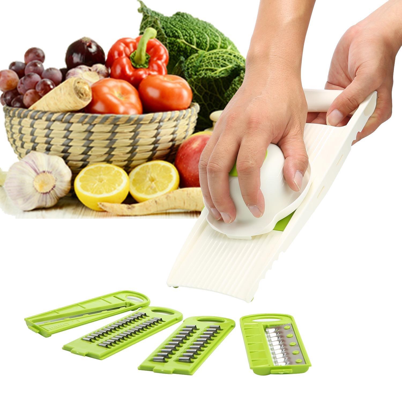 KOBWA Gemüseschneider, Multifunktions-Zerkleinerer, Kartoffel-Zwiebelschneider und Schneider für Gemüse und Obst mit Handschutz, Plastik, 01#