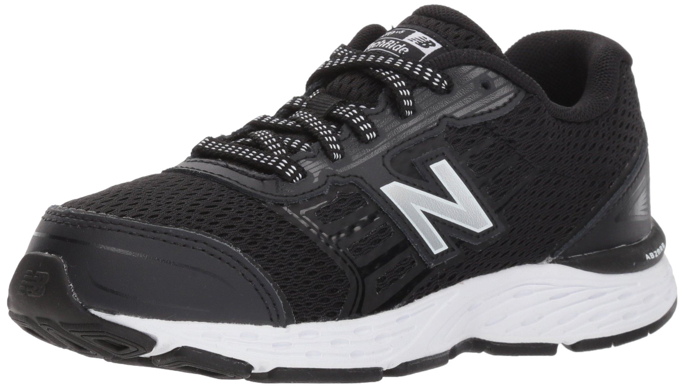 New Balance Boys' 680v5 Running Shoe, Black/White, 4 M US Big Kid