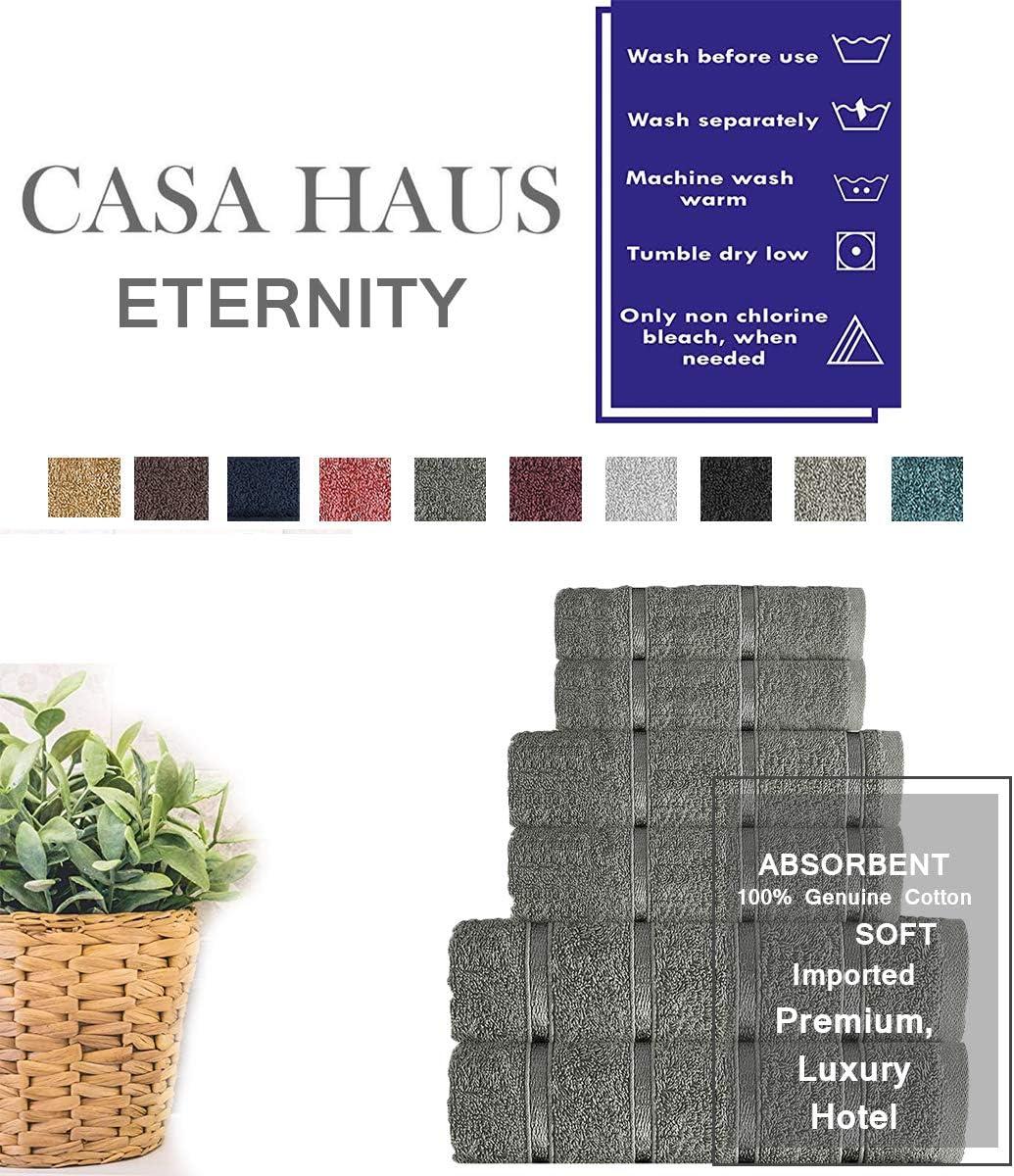 Beige Casa Haus Eternity Coton Air Twist de qualit/é sup/érieure 600 GSM Ensemble de 6 Serviettes /à Main