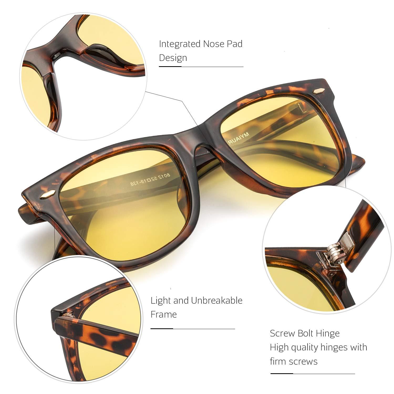 Leopard Night Driving Glasses HD Polarized Yellow Lens Cloudy//Rainy//Foggy//Nighttime Myiaur Night Glasses Driving Anti Glare for Women /& Men