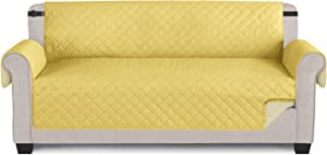 "TAOCOCO Couch Cover, Waterproof Furniture Protector Sofa Cover for 3 Seaters with Elastic Straps Anti-Skid Sofa Slipcover (Lemon/Beige, 65"")"