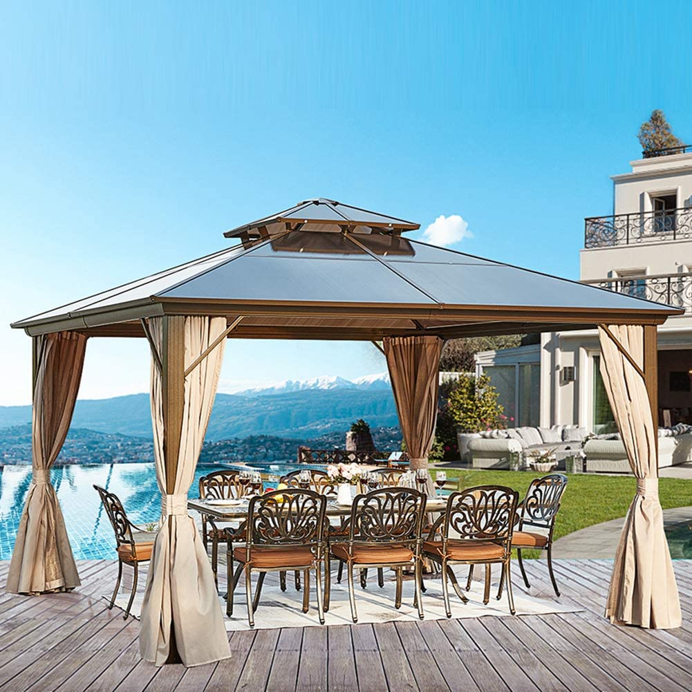 YOLENY 12'x12' Outdoor Polycarbonate Double Roof Hardtop Gazebo Canopy Aluminum Furniture Pergolas with Netting and Curtains for Garden,Patio,Lawns,Parties
