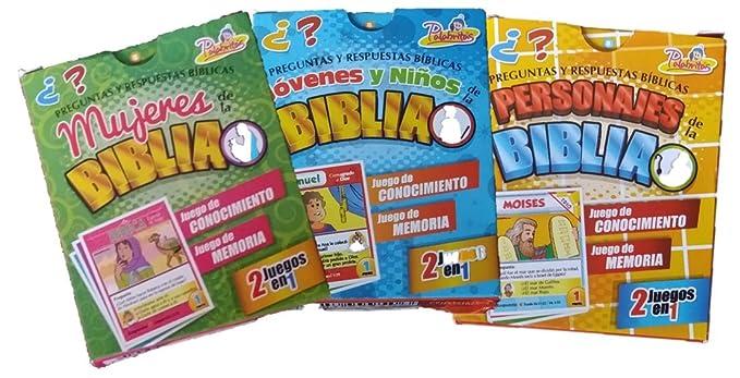 Palabritas Preguntas y Respuestas Biblicas Set completo 90 cartas, 3 en 1 Niños de la biblia, Mujeres de la Biblia y personajes de la Biblia