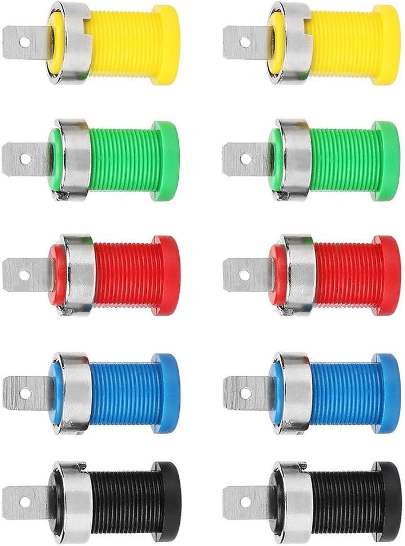 per connettori a spina a banana Montaggio a pannello colore misto professionale 10 pezzi con dado fissaggio fisso Presa a banana per montaggio a pannello Presa a banana da 4 mm