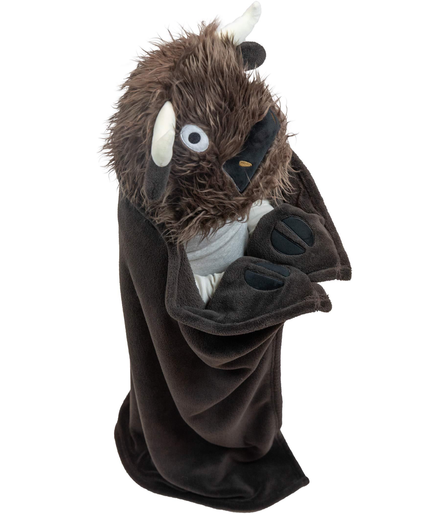 Lazy One Animal Blanket Hoodie for Kids, Hooded Blanket, Wearable Kids' Blanket, Soft, Cozy Fleece Hoodie (Buffalo Blanket)