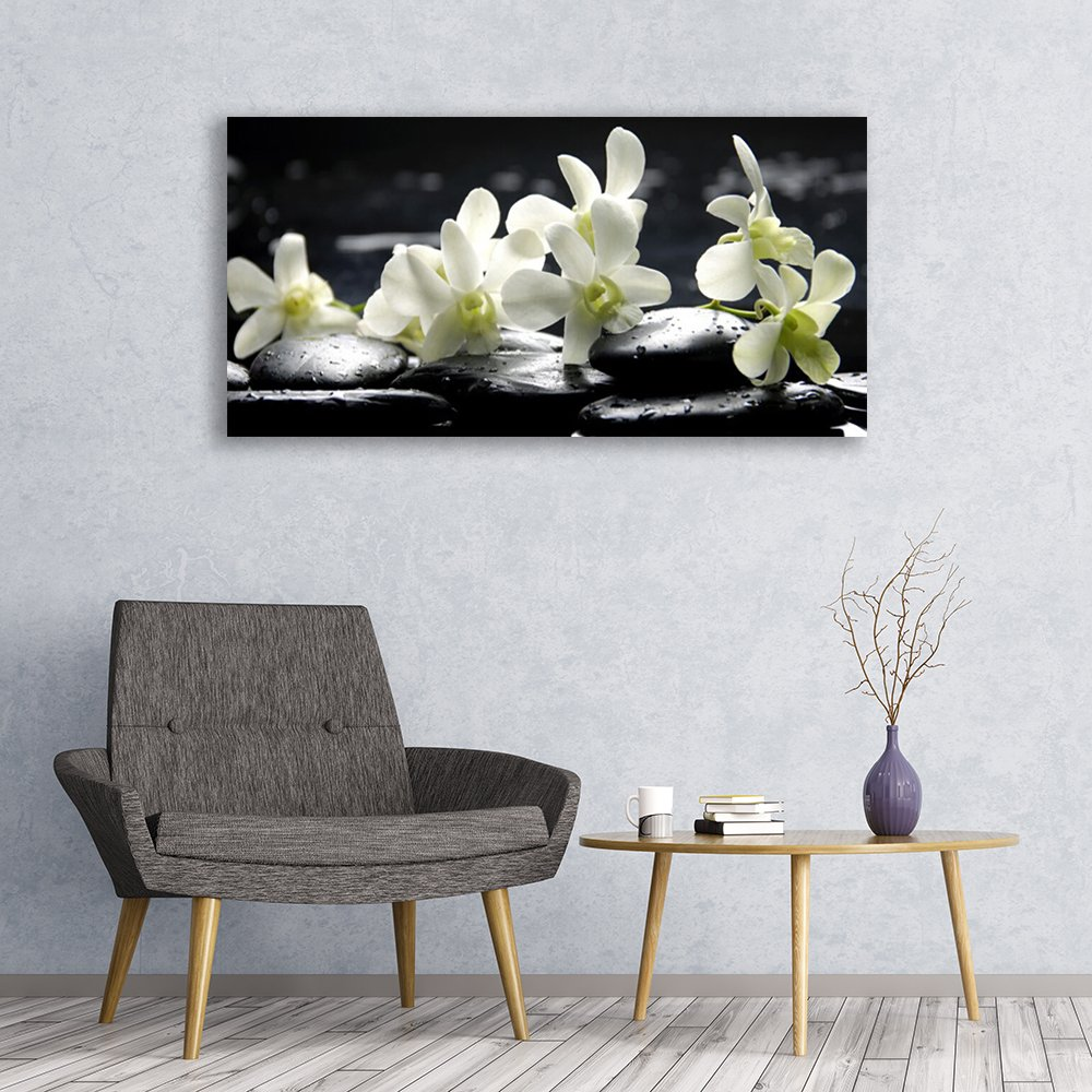 Flower Stones Floral White Black Wall Picture behind Tempered // Toughened Safety Float Glass Glass Prints Wall Art by Tulup 120x60cm Images printed on Glass