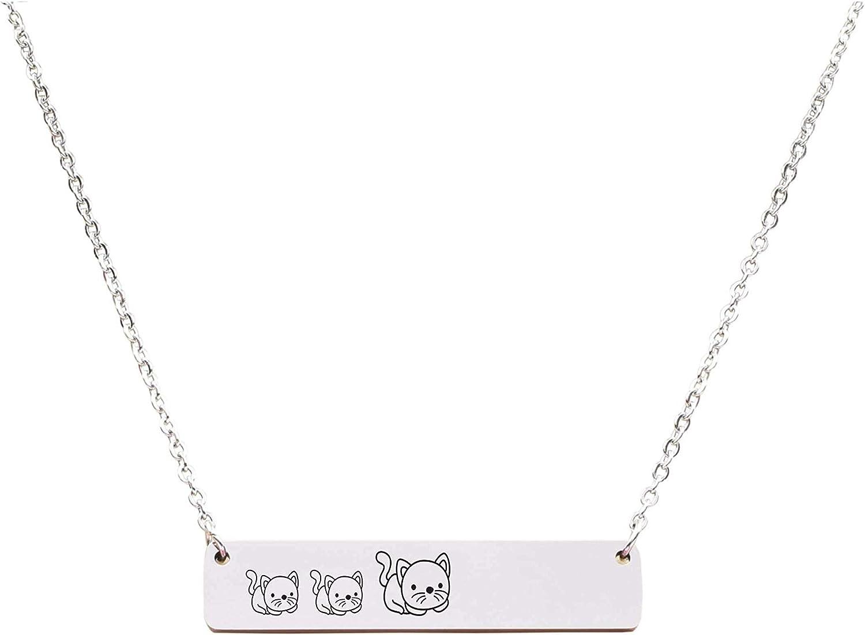 Silver Pink Box Horizontal Bar Mama Necklace Mama CAT of 2