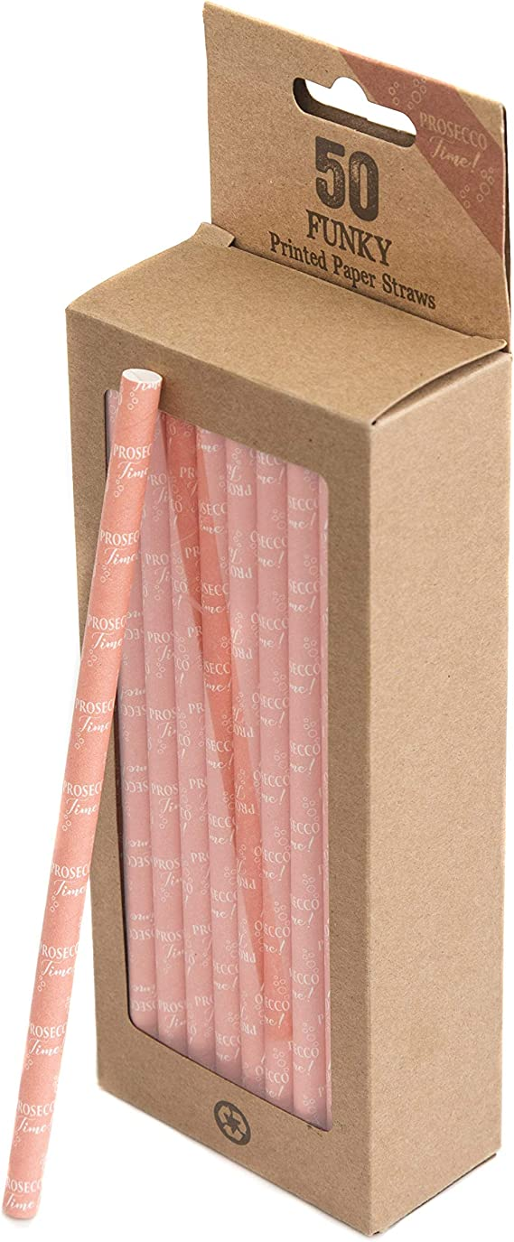 Boxer Gifts 'Prosecco Time' 50 Pink Color Paper Straw Pack|Eco-Friendly