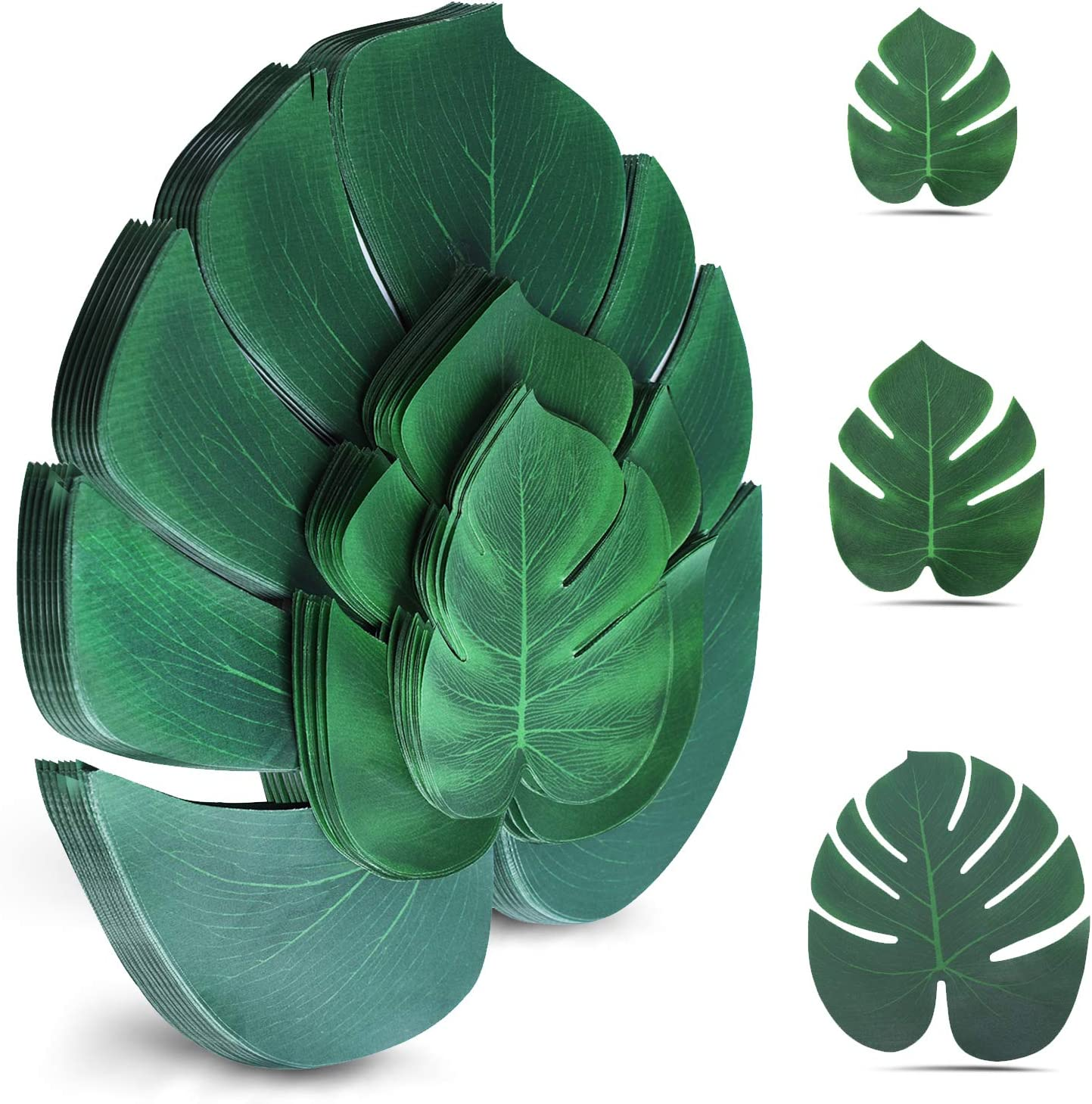 Palm Leaves Artificial Tropical Monstera Plant 100Pcs Fake Leaves Safari Birthday Decorations,Jungle Theme Party Supplies,Faux Green Leaf for Hawaiian Luau Tiki Aloha Beach BBQ Table Decoration 3 Size