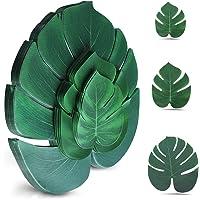 Artificial Tropical Palm Leaves 100 Pcs Plant Faux Safari Leaves Monstera Fake Large Green Leaf for Hawaiian Luau Tiki…