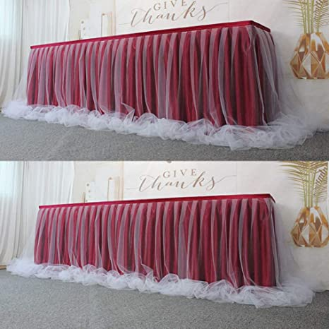 Amazon.com: 1 funda de tutú para falda de mesa, 2 capas ...