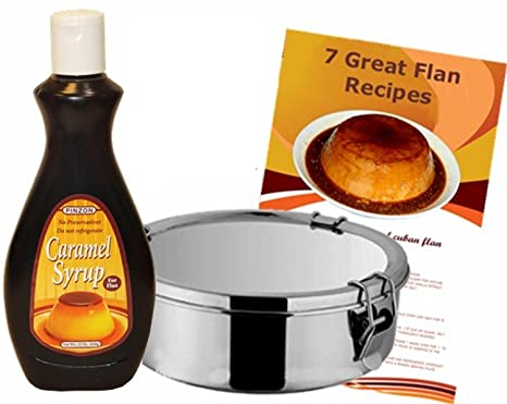 Flan Mold Stainless Steel. 1.5 quart capacity, a 22 oz Caramel Syrup Container and 7 flans recipes included