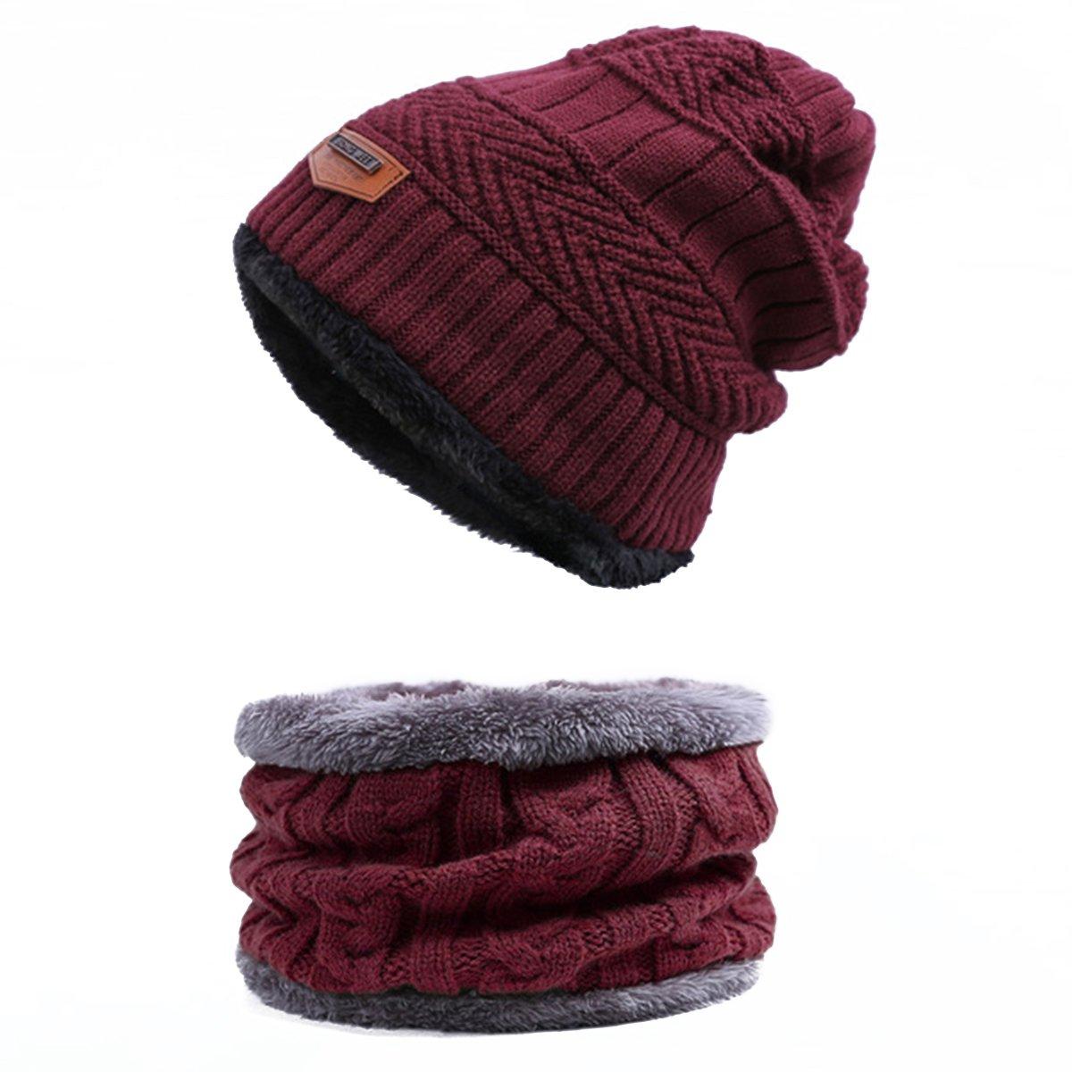 Back Packers unisex berretto invernale caldo cappello sciarpa set sciarpa spessa maglia cappello caldo pile foderato Nero CN