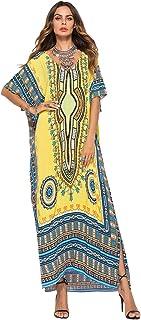 Aibayleef Copricostumi e Parei Donna Estivi Vestito Lungo Fiori Boho Abito da Spiaggia Caftano Africano Kaftano Indiano Kimono Mare Vestiti Stampa Floreale Bikini Cover Up