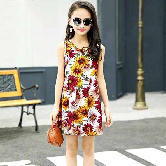 Amazon.com: ShiTou Clothes- Toddler Kid Sleeveless Floral Printing Party Dress Outfits (Multicolor, 100): Clothing