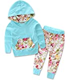 Zoe's wardrobe Baby Girls Floral Hoodie+ Floral Pant Set Leggings 2 Piece Outfits For 6M-3Y