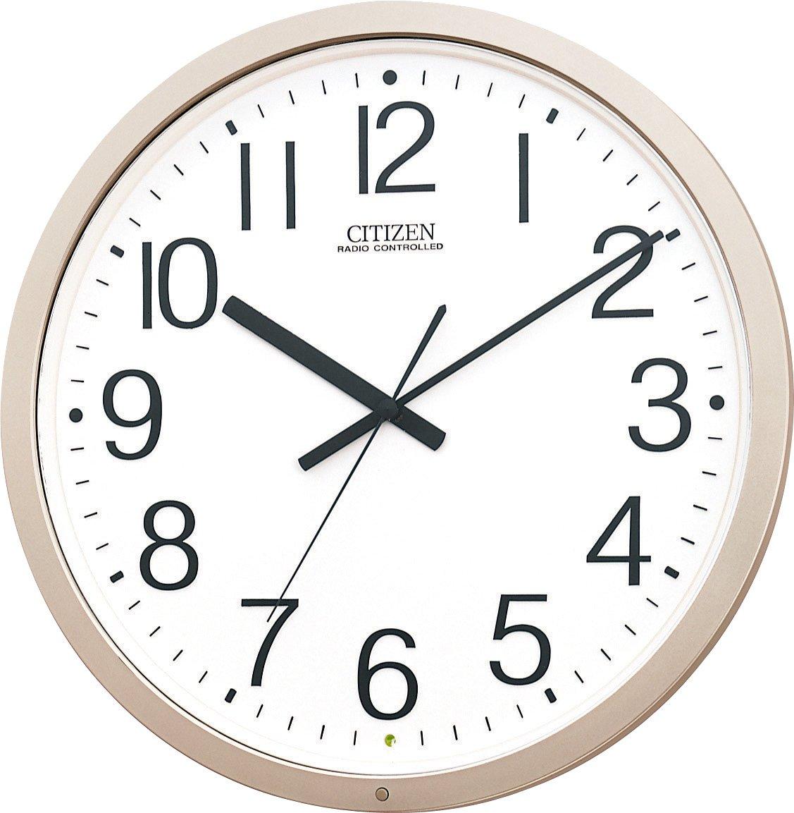 【シチズン/リズム時計】【CITIZEN】 電波掛け時計パルウェーブM603B 4MY603-B19 シャンペンゴールド(白)アナログ B008M4CDMO