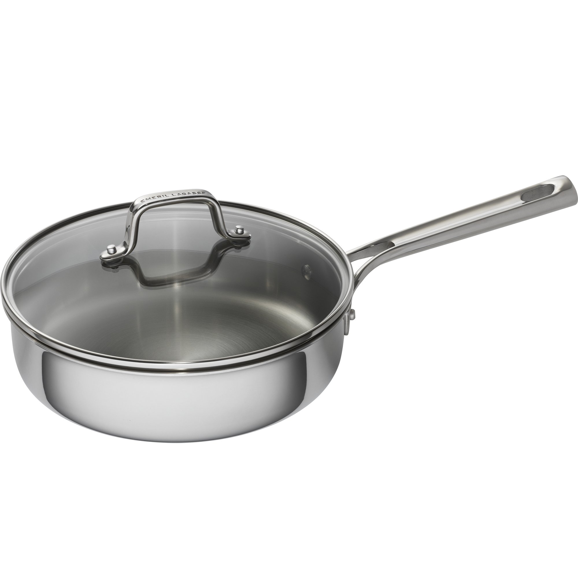 Emeril Lagasse 62857 Tri-Ply Stainless Steel Covered Deep Saute Pan, 3 quart, Silver