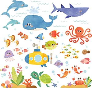 DECOWALL DS-8009 Sea Adventure Kids Wall Stickers Wall Decals Peel and Stick Removable Wall Stickers for Kids Nursery Bedroom Living Room (Small) décor
