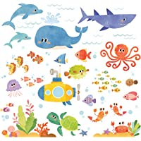 DECOWALL DS-8009 Sea Adventure Kids Wall Stickers Wall Decals Peel and Stick Removable Wall Stickers for Kids Nursery…