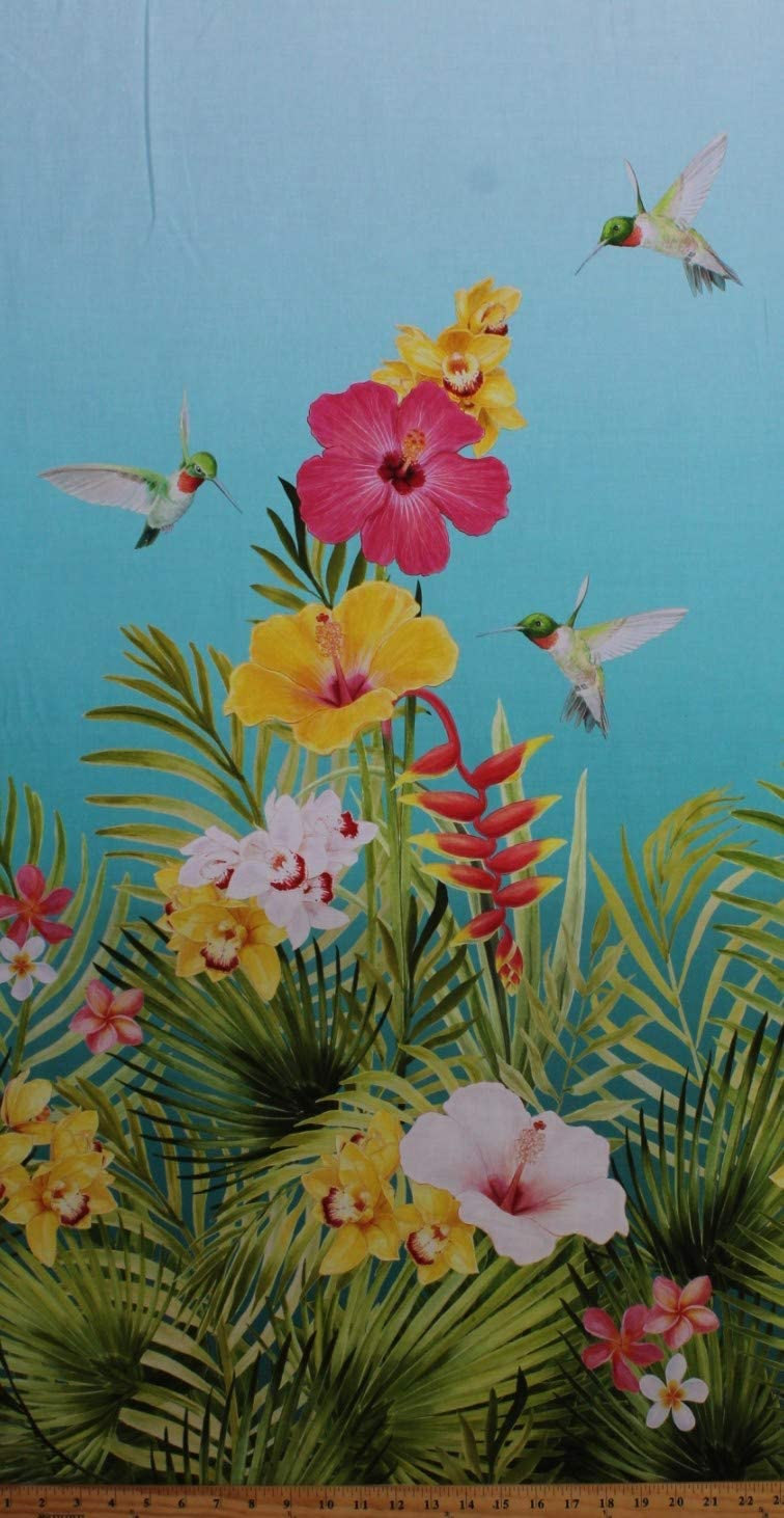 "23.5/"" X 44/"" Panel Hibiscus Flowers Floral Birds Hawaiian Cotton Fabric D370.39"