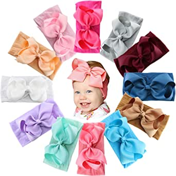 12PCS Baby Girls Grosgrain Ribbon Hair Bows Headbands 5Inch Big Bow Knotted Soft Nylon Hairbands Girls Turban Head Wrap for Infants Toddlers Newborns Kids