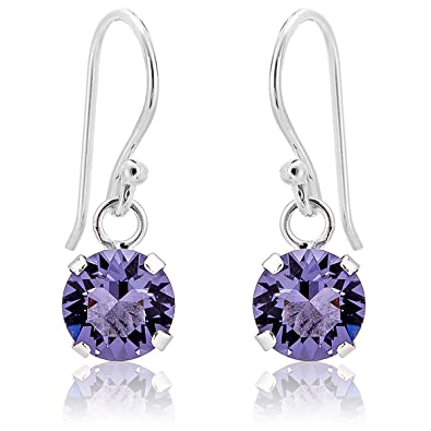 DTPSilver - 925 Sterling Silver and Swarovski Crystal Elements Round Dangle Earrings - Colour : Tanzanite J9DoWyXcRS