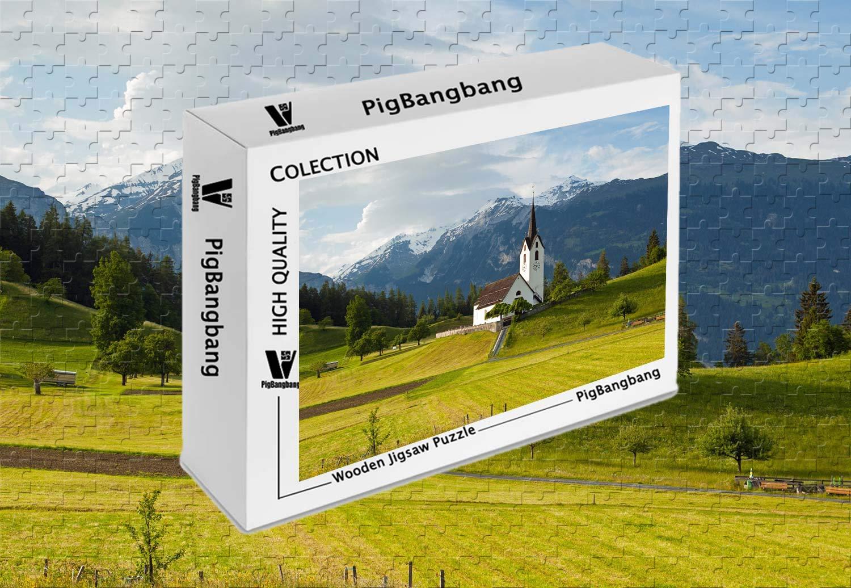 人気デザイナー PigBangbang -、箱に入ったフォトモザイクバスウッド - クイーングリソンズ スイス スイス B07J4PQQW7 アルプス - 1500ピース ジグソーパズル (34.4 X 22.6インチ) B07J4PQQW7, オーシャンデプト:fea4413d --- sinefi.org.br