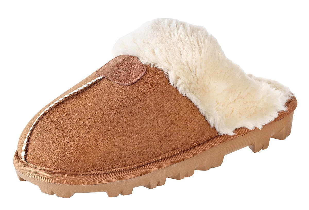Willowbee - Sierra Suede Slippers Women I Micro-Suede I Rubber Sole I 100% Lined with boa Lining I Comfortable House & Outdoor Slippers I Chestnut- US 10