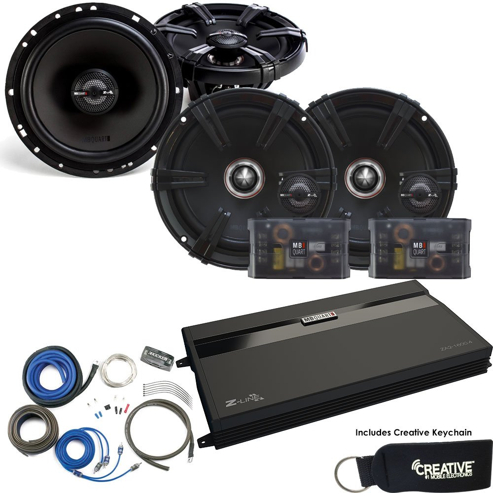 MB Quart ZA2-1600.4 Amp, a Pair of ZC1-216 6.5'' Components, a pair of ZK1-116 6.5'' speakers & Wire Kit