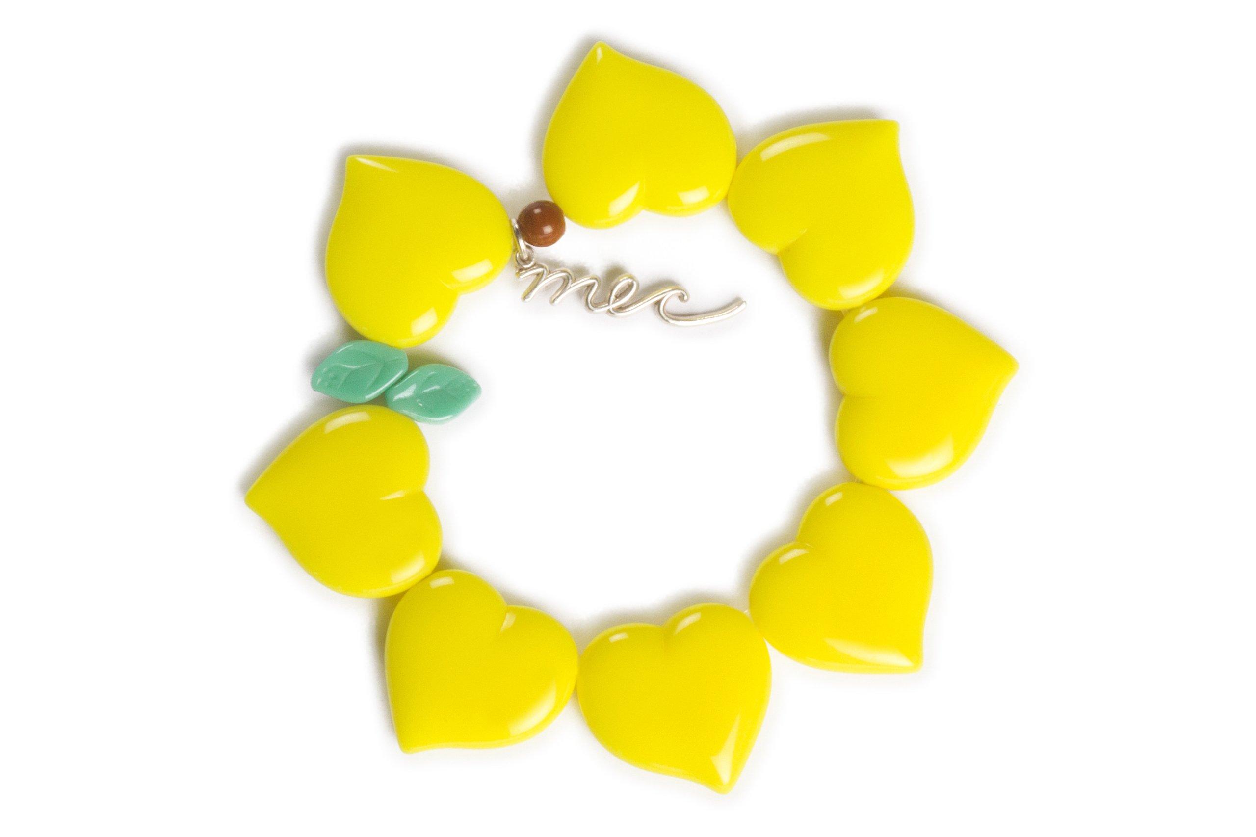 MEC Heart Bracelet Flor de Corazon (Yellow Caribe Neon)