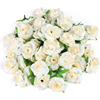Kesote 50 Stück Künstliche Blumenköpfe Blütenköpfe Kunst Blumen Rosen Köpfe für Hochzeit Party Deko DIY