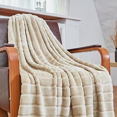 Bertte Ultra Velvet Plush Super Soft Decorative Stripe Throw Blanket-50 x 60 , Light Beige