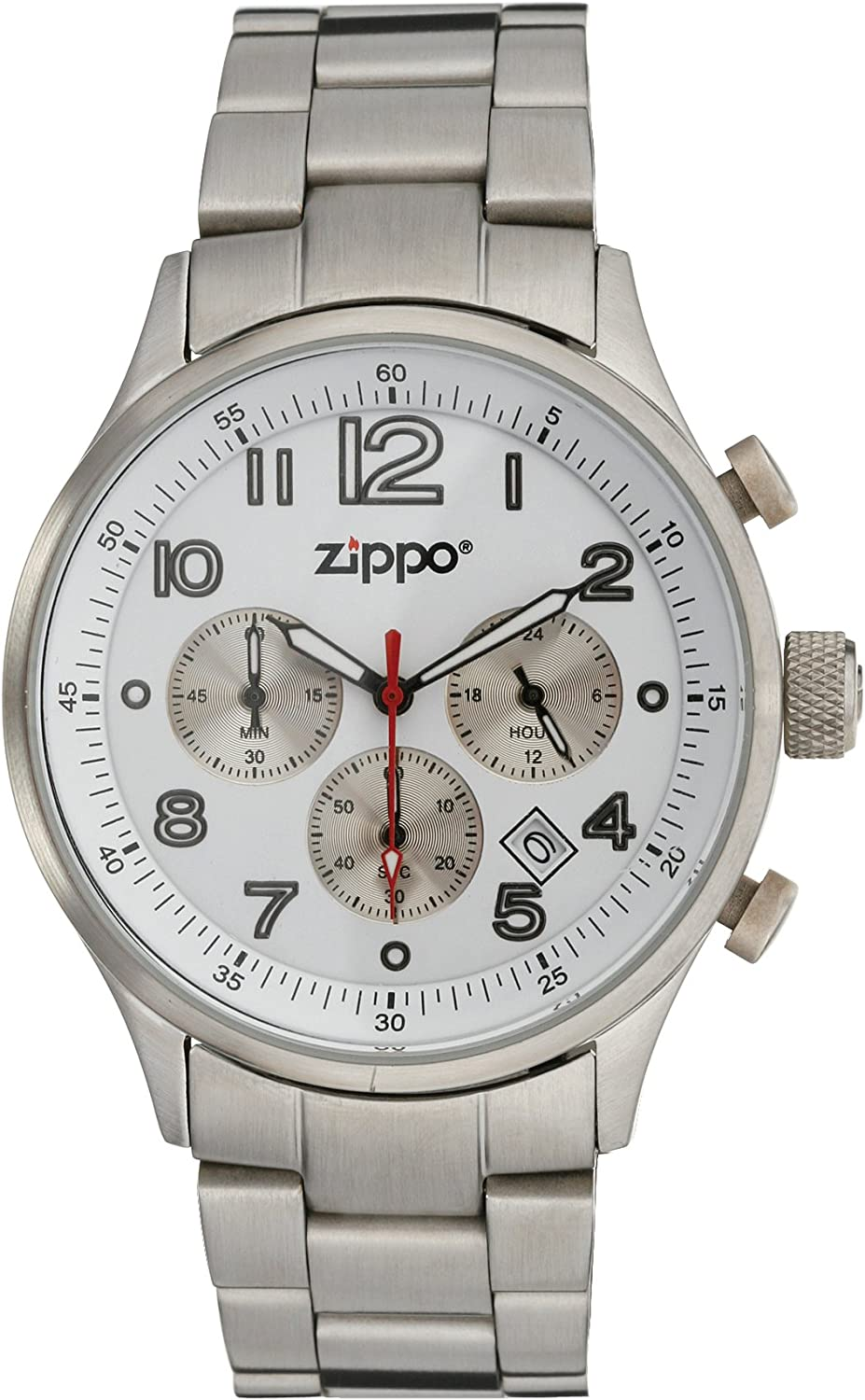Zippo Sports Watch with Chronograph White Dial and Solid Stainless Steel Band, Chrome