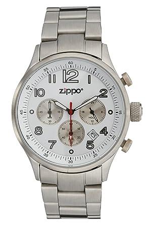 Zippo 45000 - Reloj para hombres, correa de acero inoxidable color plateado