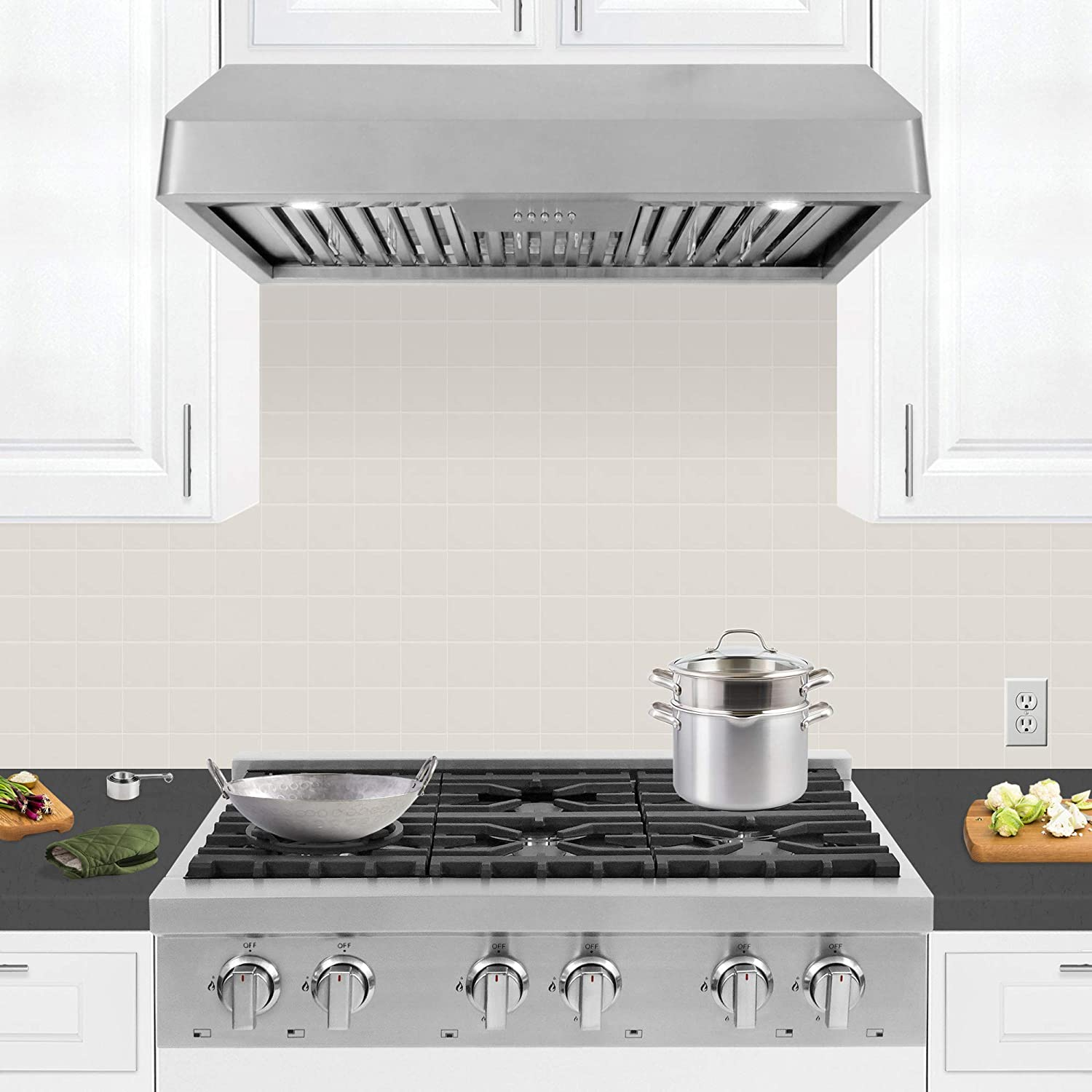 Cosmo QB90 36-in Under-Cabinet Range Hood 900-CFM Ductless Convertible Duct, Kitchen Stove Vent with LED Light, 3 Speed Exhaust Fan, Dishwasher-Safe Permanent Filter Stainless-Steel