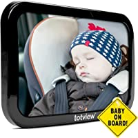 totview Baby Car Mirror - For Rear Facing Car Seats - Large, Secure Fit Baby Mirror - Easily View Infant In Backseat - Best Newborn Baby Accessory For Travel - FREE Baby-On-Board Sign