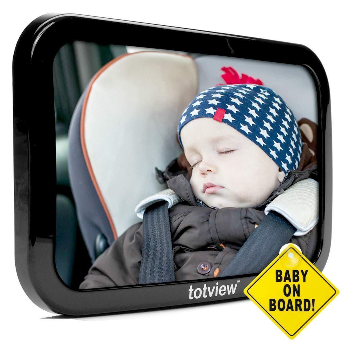 Baby Car Mirror - for Rear Facing Car Seats - Large, Secure Fit Baby Mirror - Easily View Infant in Backseat - Best Newborn Baby Accessory for Travel - Free Baby-On-Board Sign by GroCreations