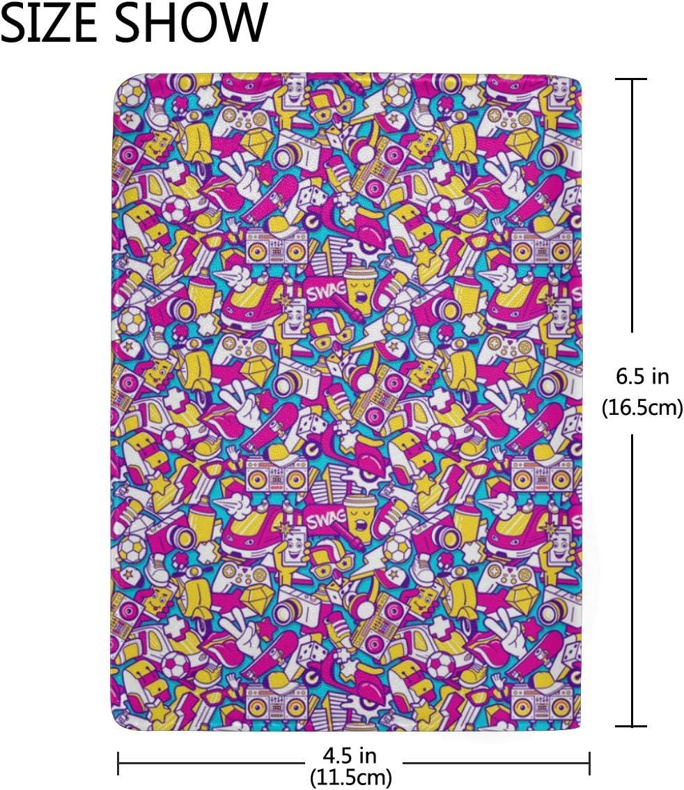 Pink Daily Spray Doodle Multi-purpose Travel Passport Set With Storage Bag Leather Passport Holder Passport Holder With Passport Holder Travel Wallet