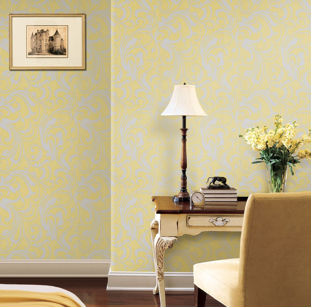 Mustard Yellow/Grey Floral Wallpaper For Walls - Double Roll - Adore ...