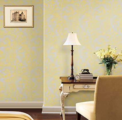 Mustard Yellow Grey Floral Wallpaper For Walls Double Roll Adore Splashy Corsage By Romosa Wallcoverings Amazon Com