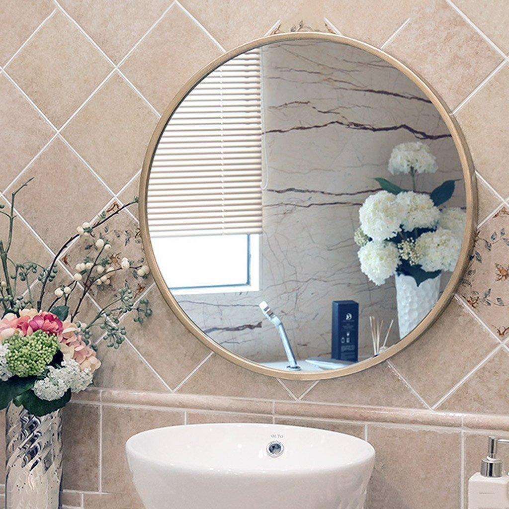 Mirror bathroom mirror wrought iron makeup mirror retro decorative mirror round mirror bathroom makeup mirror toilet decoration hanging mirror (Color : Gold, Size : 6060cm)