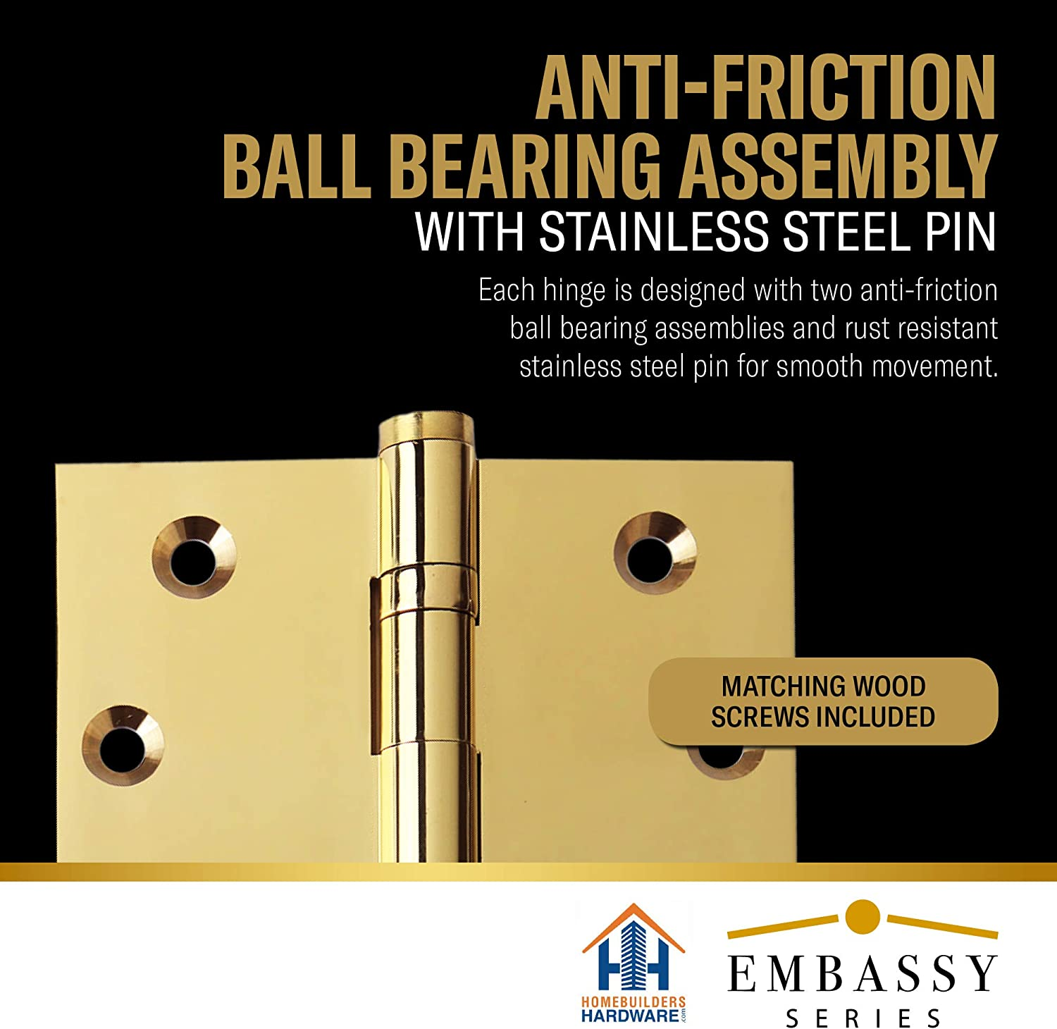 Stainless Steel Removable Pin Architectural Grade Ball//Urn//Button Tips Included US3 3 Door Hinges 3.5 x 3.5 Extruded Solid Brass Ball Bearing Brass Hinge Heavy Duty Polished Brass