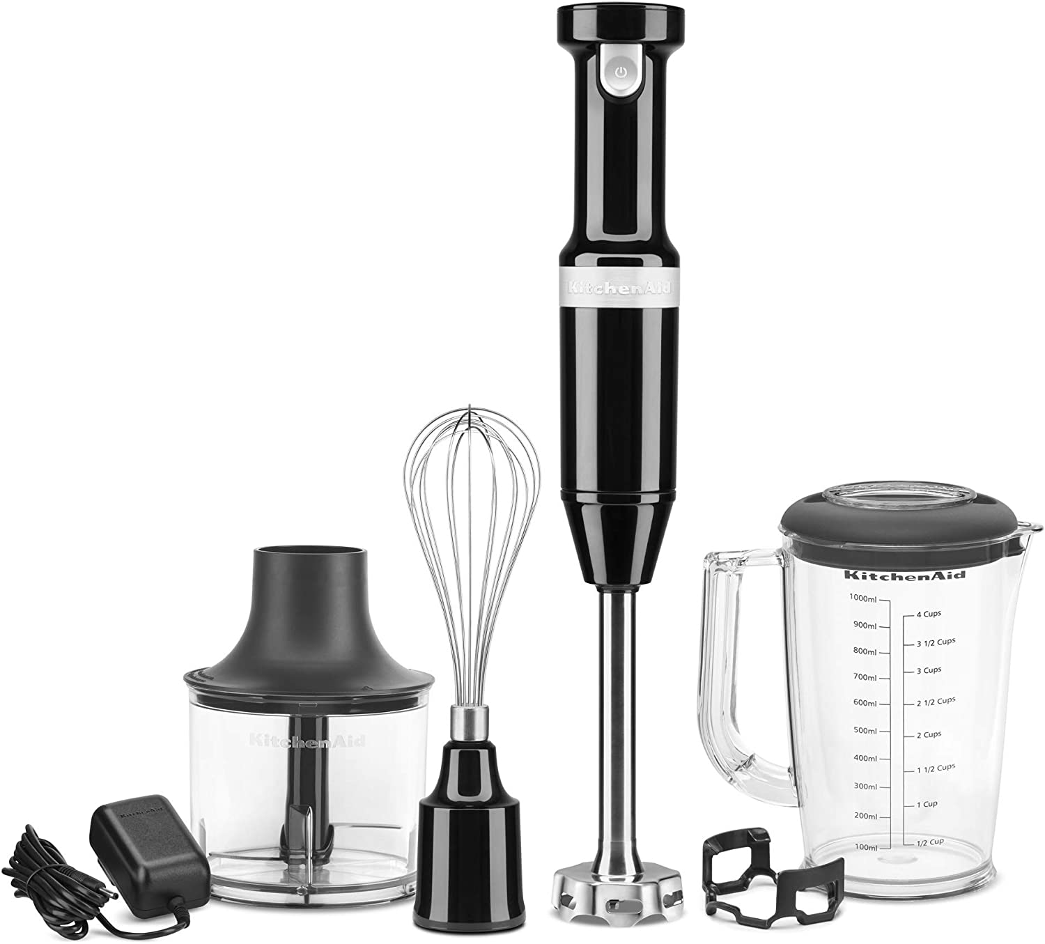 KitchenAid KHBBV83OB Cordless Variable Speed Hand Blender with Chopper and Whisk Attachment, Matte Onyx Black