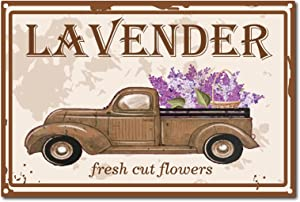 CREATCABIN Retro Vintage Tin Sign Fresh Cut Flowers Metal Wall Decor Decoration Lavender Art Mural for Home Garden Kitchen Bar Pub Living Room Office Garage Poster Plaque 12 x 8inch