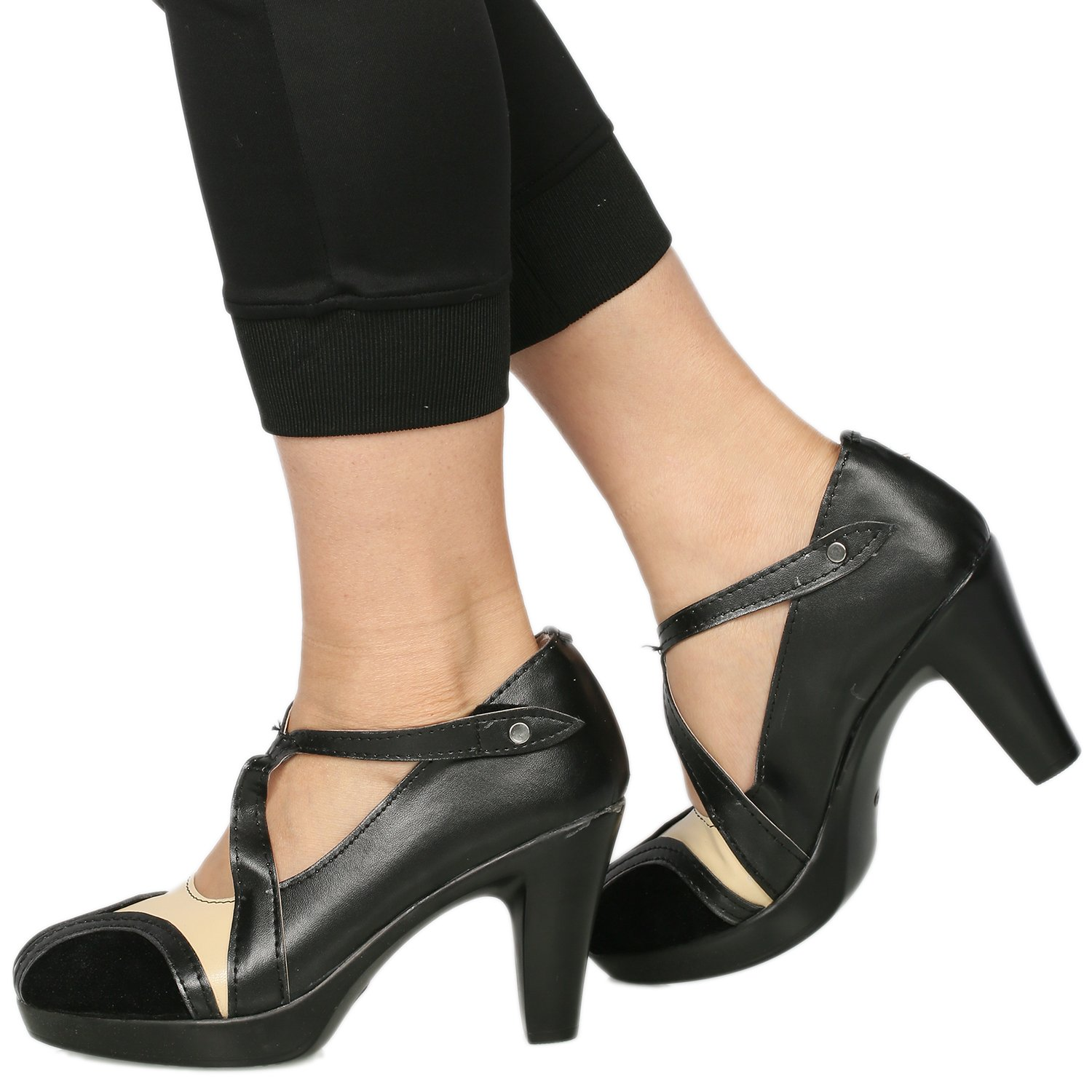 1920s Style Shoes Cosplayrim Queenie Cosplay Goldstein Shoes Black PU Fantastic High-heeled Beasts Shoes for Women $75.90 AT vintagedancer.com