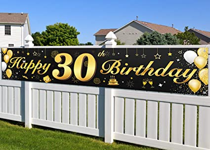 30th Birthday Banner,Large Black Fabric Gold Glitter Sign Banner Cheer to 30 Years and Background Banner for 30th Birthday Party Decorations and Supplies